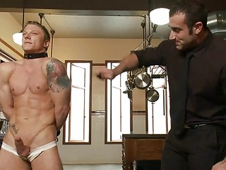 tattooed muscled homo stud gets tied and whipped