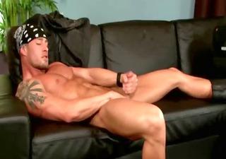 pornstar nasty homosexual hunk jerks off