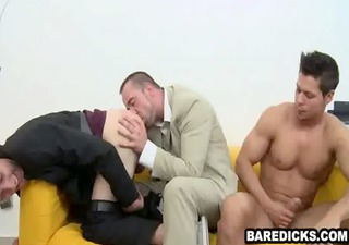 four lascivious guys having threesome hot and