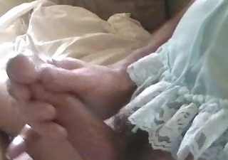guy in lingerie has sticky cum