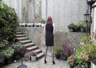 trannie amicable suit - jerking off in the garden