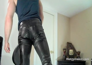 leather cum with muscle guy in jockstrap!