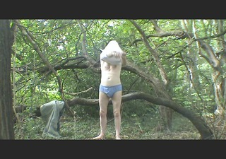 a strip, jerk off and cum in the woods