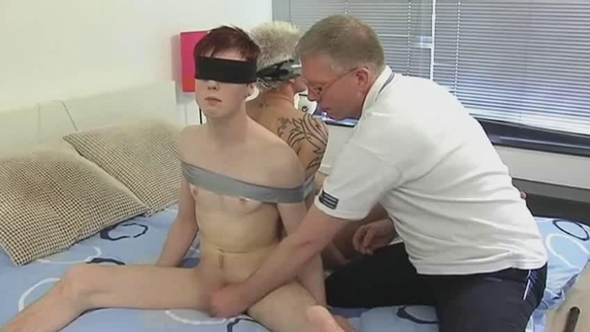 mature homo dad ties two randy twinks and engulf